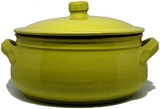 Colì, Tegame in Terracotta con Coperchio, Tegame Artigianale, Verde, Diametro 24 cm