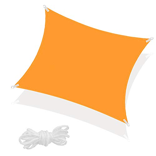 SPRINGOS Sonnensegel inkl. Abspannleine wasserabweisend Sonnenschutz Schattensegel Segeltuch für Garten Terrasse Balkon Patio Wetterschutz Windschutz Beschattung Schattenspender (Orange Quadrat 3x3 m)