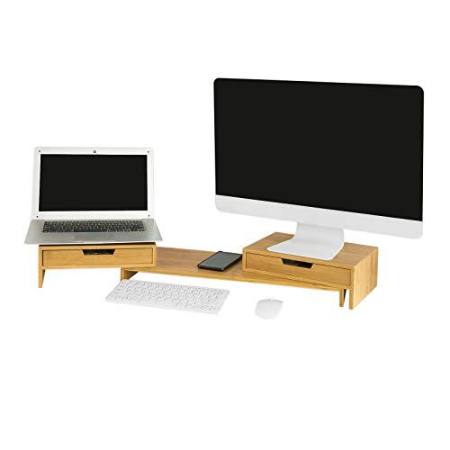 SoBuy Supporto Monitor pc da scrivania per 2 Monitors Angoli Girevole con 2 cassetti e Gomma Antiscivolo in Legno massello di bambù BBF04-N