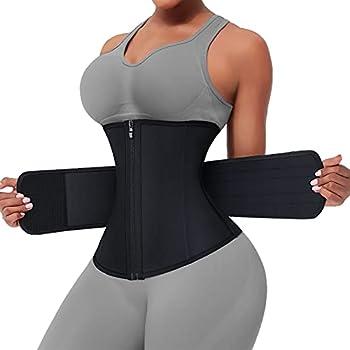 FeelinGirl Waist Trainers for Women Waist Trimmer Plus Size Light & Thin for Tummy Control Black