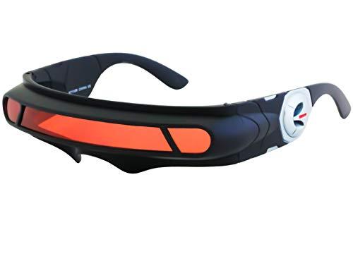 Futuristic Space Alien Costume Party Cyclops Shield Colored Mirror Mono Lens Wrap Sunglasses 147mm (Black/Red, 147)
