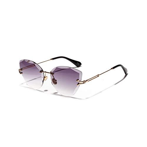 Yiph-Sunglass Moda Occhiali da Sole Occhiali da Sole delicati con Taglio a Diamante Vintage Cat Eye da Donna, Senza Bordi. (Colore : Grigio)