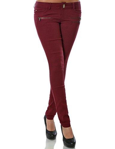Damen Skinny Hose Treggings Stretch DA 15528 Farbe Bordeaux Größe S / 36