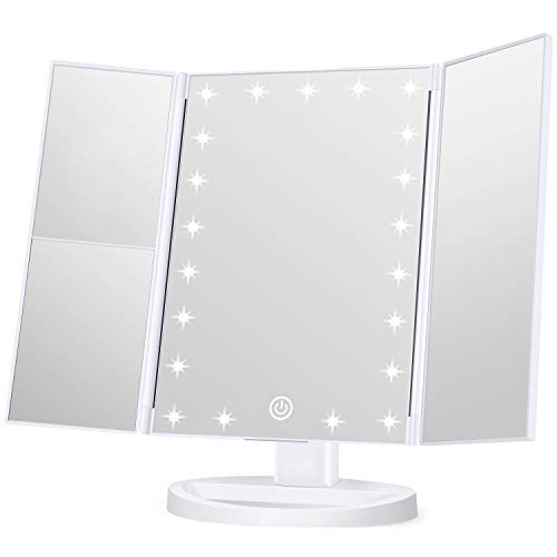 Wondruz Makeup Mirror Vanity Mirror with Lights, 1x 2X 3X Magnification, Touch Screen Switch, Dual...