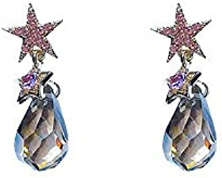 JUYOUSHENG Flatware Needle Five-pointed Star Earrings Temperament Godforsaken Crystal Earrings Studded Diamond Simple Ear Ornaments (Color : Crystal)