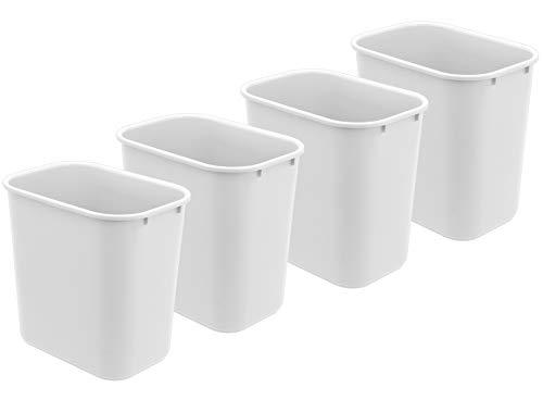 Acrimet Wastebasket 27QT Plastic White Color 4 Pack