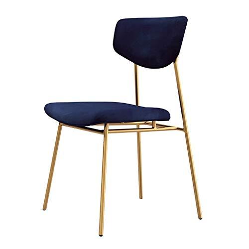 CSD Terciopelo Moderna tapizada Sillas Inicio Sala de Ocio con taburetes de Bar Volver Comer sin Brazos apilable portátil, Azul