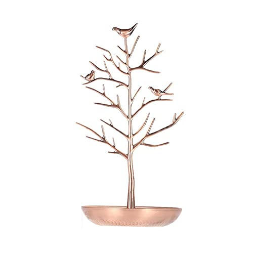 RJJX Metal Tree Jewelry Soporte Pantalla Pendiente Pendiente Collar Anillo Holder Organizador (Color : Red Copper)