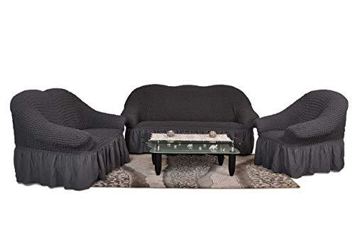 My Palace Estefania Sofabezug 3er Set mit 1-Sitzer, 2-Sitzer und 3-Sitzer Bezügen und Schaumstoff-Ankern für rutschfesten Halt auf der Sofagarnitur, 3-teiliges hochdichtes Stretch-Gewebe, Anthrazit