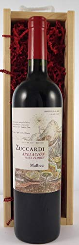 Familia Zuccardi Apelacion Vista Flores Malbec 2017 Uco Valley Argentina en una caja de madera con tres accesorios de vino, 1 x 750ml