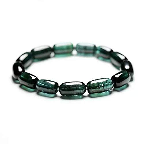 DUOVEKT Pulsera de turmalina verde natural para mujeres y hombres con piedra de cristal de 15 x 8 mm, joyería elástica con certificado AAAAAAA.