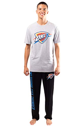 Ultra Game NBA Oklahoma City Thunder Mens 2 Piece Super Soft Tee Shirt & Lounge Pants Set, Black, XX-Large