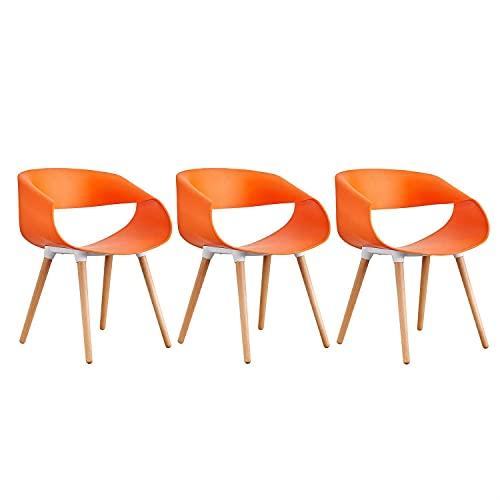WYBW Inicio Silla de comedor, sillón Sillas de comedor Diseño curvo Hermoso y robusto Plástico Madera Asientos retro Recepción Maquillaje Mostrador Sala de estar Salón Taburetes de bar,naranja,3