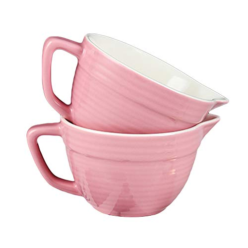 AWYGHJ Mixing Bowls Set of two, 12oz Mini Classic Ceramic Mixing Bowl with Pouring Spout and Handle, Dishwasher Safe, for Easy Mix and Pour, Baking and Cooking