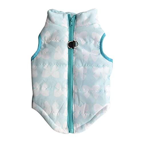 jiabushu shop Disfraz de perro para mascotas azul Bowknot tela perro mascota chaleco invierno chaqueta chaleco para perro mascota ropa