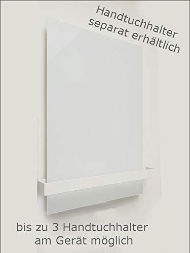 insidehome | Infrarotheizung Glasheizung ELEGANCE Classic H | Glas rahmenlos | ergänzbar mit bis zu 3 Handtuchhaltern | Farbe: weiss | 450 Watt – 60 x 70 x 1,8 cm Bild 3*