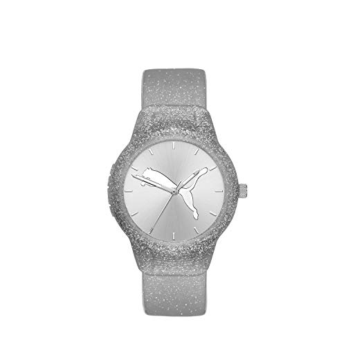 PUMA Women's Reset Quartz Watch with Polyurethane Strap, Silver, 18 (Model: P1003)