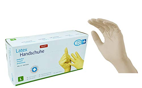 100 Stück Latexhandschuhe glatt in Spender-Box  puderfrei, nicht steril  Einweghandschuhe Einmalhandschuhe (L)