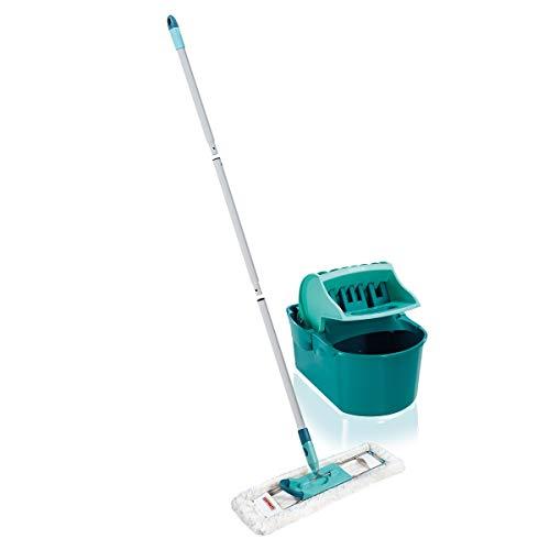 Leifheit Set Essoreur Profi Compact, ensemble nettoyage avec balai serpillère, lave-sol avec manche en 3 parties, essorage facile, kit de lavage pratique