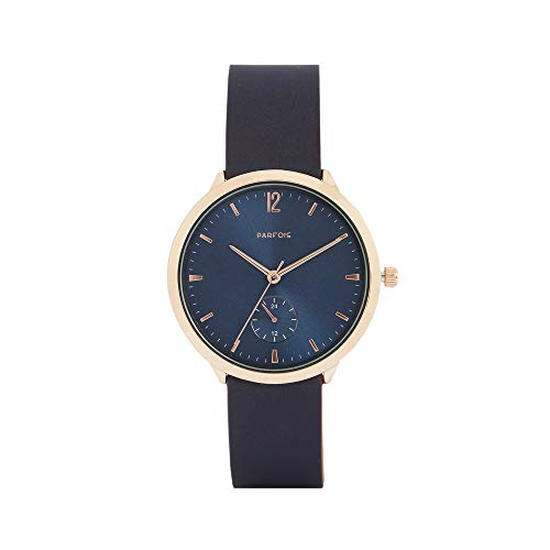 Parfois - Reloj Casual Rose Gold Tray - Mujeres - Tallas Única - Azul Marino