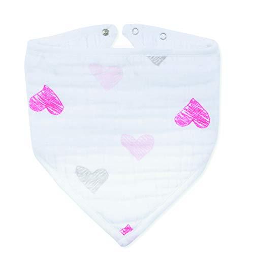 aden + anais, bavoir bandana, 100% mousseline de coton, lovebird