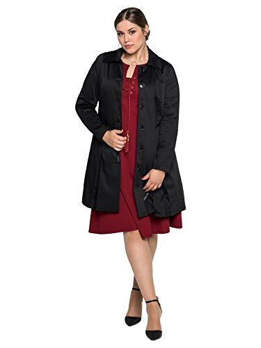 Sheego Mantel Kurzmantel Jacke Gehrock Damen Baumwolle, Farbe:schwarz, Damengrößen:46