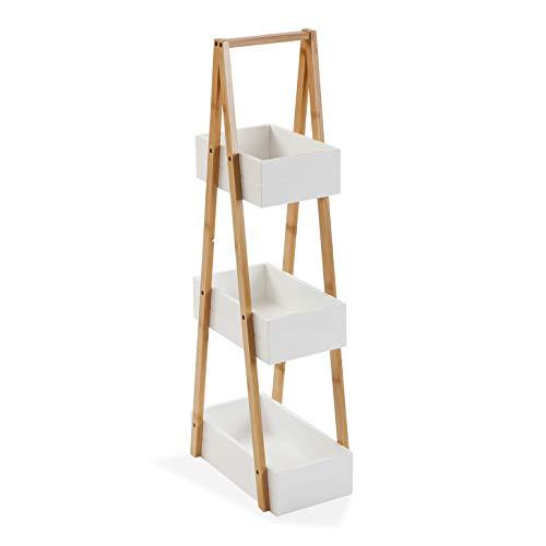 Versa Scaffale da bagno con 3 ripiani in bambù, 81 x 18 x 30 cm