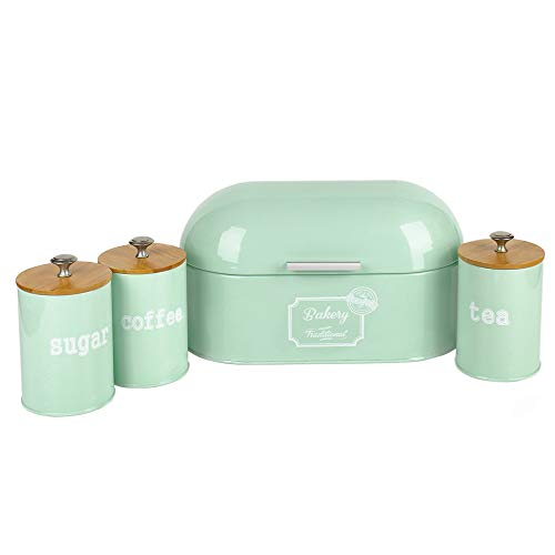 X680L Set of 4 Metal Light Green Vintage Home Kitchen Gifts Tea Coffee Sugar Tin Canister/Bread Box/Bin/Container/Holder