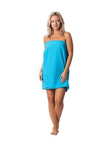 Turkish Linen Women's Waffle Spa Body Wrap with Adjustable Closure (One Size, Turquoise)