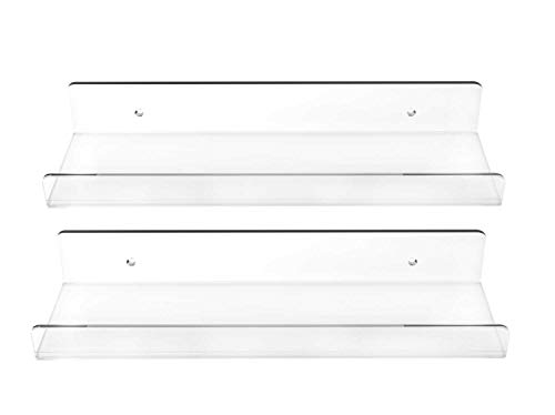 Blingsoul 2 Pack Clear Floating Shelves - 15 Inches Acrylic Bathroom Shelf, Makeup Organizer Cosmetics Spice Rack, Storage Shelves, Wall Room Decor Hanging Bookshelf Display