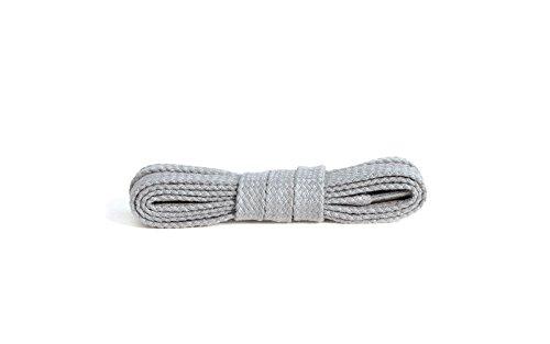 Kaps Flache Schnürsenkel, hochwertige strapazierfähige 100% Baumwolle Schnürsenkel, hergestellt in Europa, 1 Paar, viele Farben und Längen (120 cm - 6 bis 8 Ösenpaare / 83 - hellgrau)