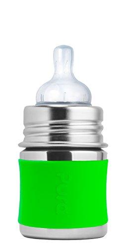 Pura Kiki Babyflasche 125 ml mit Silikon-Sleeve (Grün)