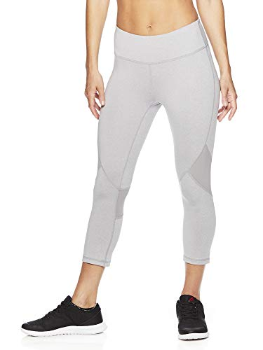 Reebok Women's Printed Capri Leggings with Mid-Rise Waist Performance Compression Tights - Grey Sky Heather, Medium