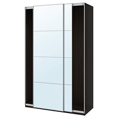 PAX garderob med skjutdörrar 150 x 66 x 94 tum svartbrun/Auli spegelglas