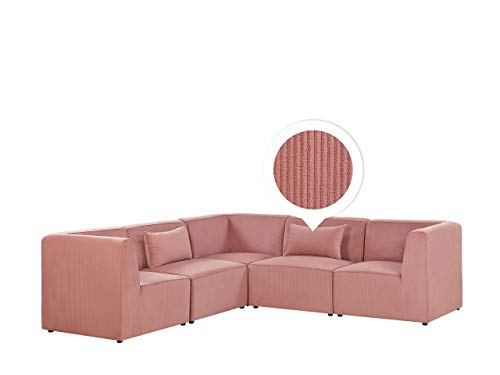 Canapé d'angle 5 places Rose Velours Luxe Moderne
