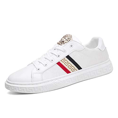 WggWy Skateboard-Schuhe für Männer, atmungsaktive weiße Schuhe Sportwohnung Bottom Shoes All-Match Casual Schuhe Korean Stil Trendy Schuhe Frühling und Sommer,Weiß,44