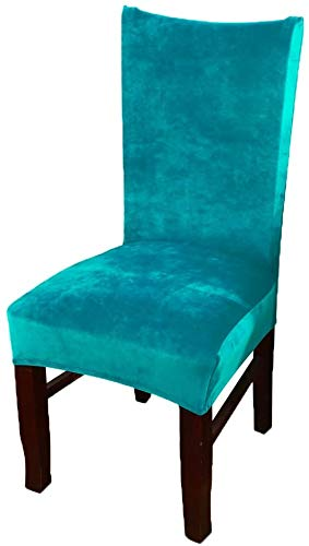 smiry Stuhlhussen für Esszimmer, Samt, Esszimmerstuhl, elastisch, Textil, blau - Peacock Blue, 6 X