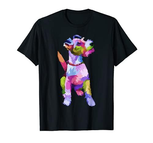 Fox Terrier buntes Pop Art Porträt für Hundebesitzer T-Shirt