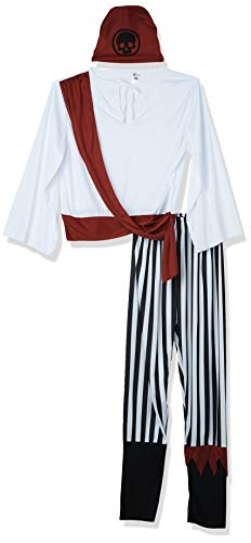 Smiffy'S 25783L Disfraz De Hombre Pirata Con Camisa, Pantalones, Banda Para El Pelo Y Cinturón, Negro / Blanco, L - Tamaño 42'-44'