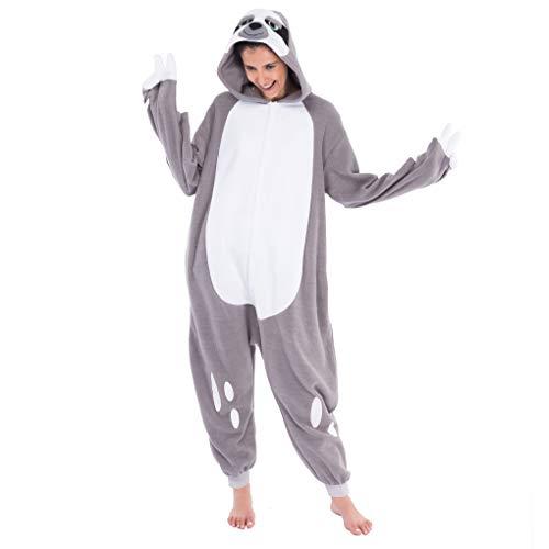 Spooktacular Creations Unisex Erwachsene Faultier Kostüm Schlafanzug Jumpsuit, Plüsch Onesie Pyjama für Damen Herren (Small)