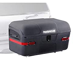 Heavy duty, trailer tow hitch-mounted storage box on a rugged SwingAway frame; sized right for a van, minivan, truck, SUV, jeep, or larger car Frame swings out for clear access to the back of your vehicle and all of your luggage - significantly easie...