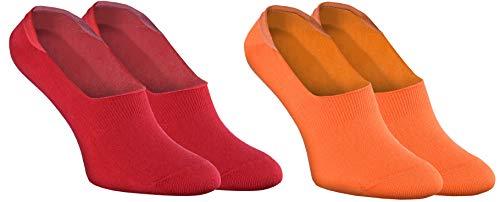 Rainbow Socks - Donna Uomo - Colorato Calze Barca Fantasmini in Cotone - 2 Paia - Rosso Arancione - Taglia UE 38-40