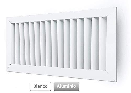 GASMOBE Rejilla de ventilación para aire acondicionado retorno simple aluminio deflexión vertical (300x100, Blanco)