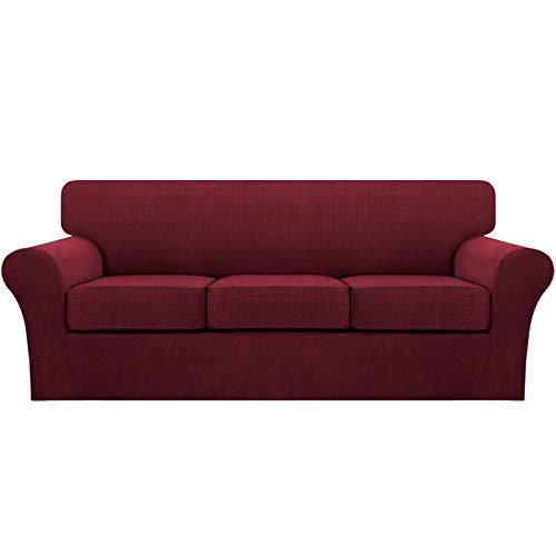 Turquoize4 Piece Stretch Sofa Covers for 3 Cushion Couch Covers SofaSlipcovers Including Base Cover and 3 Individual Seat Cushion Covers, Thick Soft Jacquard Customized Fitting (Large,Burgundy)