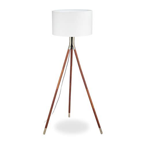 Relaxdays, weiß/braun Stehleuchte Wohnzimmer, 3 Holzbeine, Gestell mit Messing-Finish, Stoffschirm 48 cm Ø, 150 cm hoch, Standard