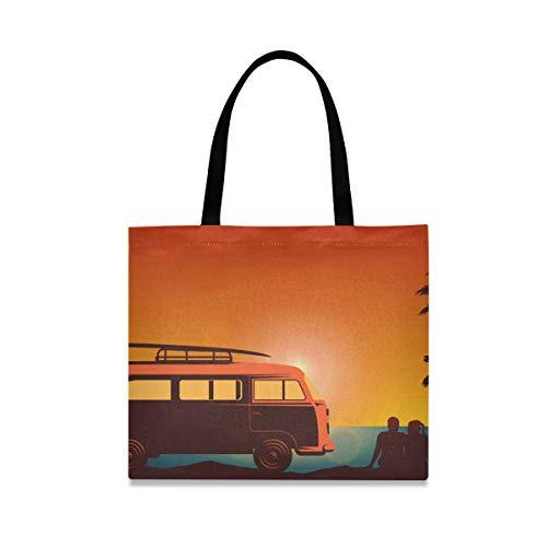 LUPINZ Handtasche für Paare mit Fluss, Sonnenuntergang, Leinen, lässige Schultertasche, Arbeitstasche