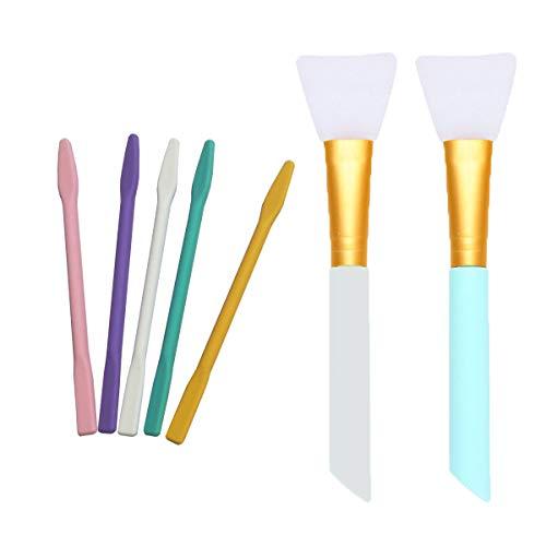 Silikonrührstäbchen-Set, inkl. 5 Silikon-Rührstäbchen, 2 Silikon-Epoxid-Pinsel zum Mischen von Harz, Farbe, Epoxid, zum Herstellen von Glitzergläsern, DIY Basteln