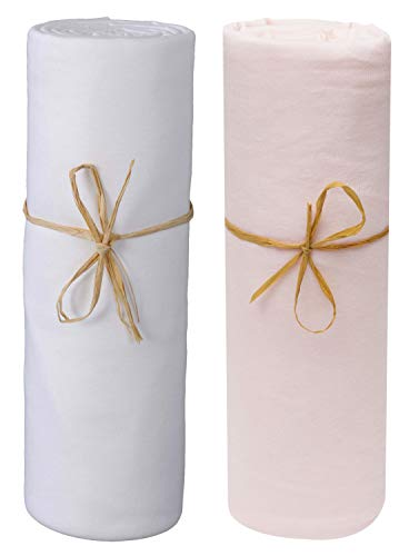 P'tit Basile - Set di 2 lenzuola con angoli in cotone jersey bio, 40 x 80 cm a 55 x 90 cm, materasso per culla cododo, cosleeping, culla, NEXT2 ME DREAM, KINDERKRAFT, SAFETY 1st...