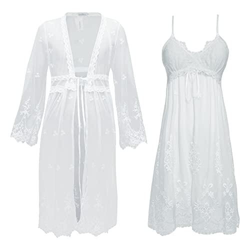 Gaga city Vestaglia e Camicia da Notte Bianca Pizzo, Vestaglia Sposa Completo Bianco Camicia da Notte Elegante in Pizzo Sottoveste da Notte Donna Set 2 Pezzi, Taglia M