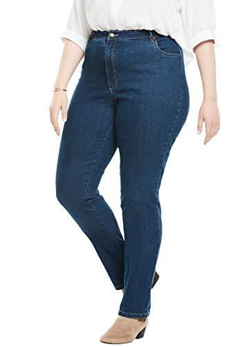 Woman Within Women's Plus Size Straight Leg Stretch Jean - Medium Stonewash, 26 W